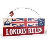 Heartwarmers London Rules Vintage Wooden Union Jack Sign Plaque