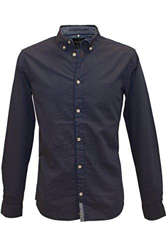 Blend of America -  Camicia Casual  - Con bottoni  - Maniche lunghe  - Uomo blu m