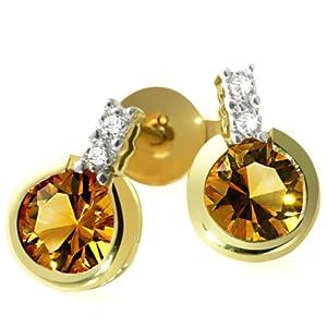 Goldmaid Damen-Ohrstecker 585 Gelbgold 4 Diamanten 2 Citrin 0,02ctFa O2944GG
