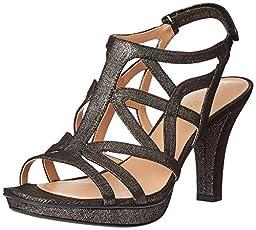 Naturalizer Women\'s Danya Platform Dress Sandal, Black/Pewter, 10 M US