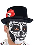 Day of the Dead Top Hat with Skull black white red