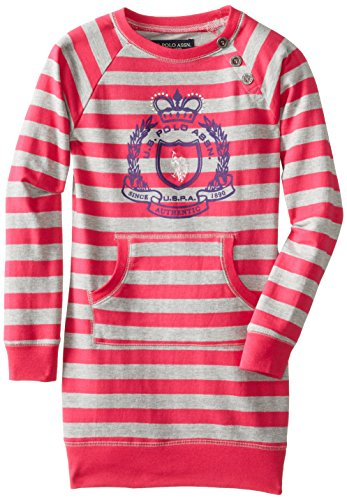 Us Polo Association Big Girls' Striped French Terry Sweatshirt Dress, Berry Bug, 12