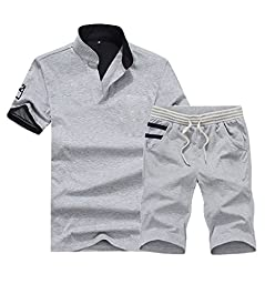 Men\'s T-Shirt 2 Piece Casual Wear Cotton Fashion Tee Sport Set Tshirt and Pants XXXL Gray