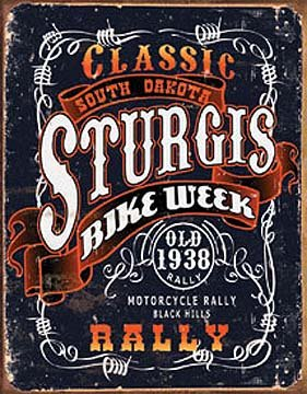 Sturgis Bike Week Classic Rally Motorcycle Distressed Retro Vintage Tin Sign