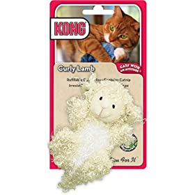 KONG Curly Lamb Catnip Toy, Cat Toy, Cream
