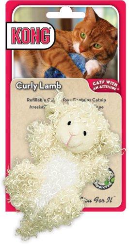 KONG Curly Lamb Catnip Toy, Cat Toy, Cream