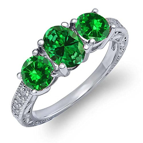 2.40 Ct Oval Green Simulated Emerald 925 Sterling Silver Women's 3-Stone Ring (Available in size 5, 6, 7, 8, 9) (Sterling Gem Rings compare prices)