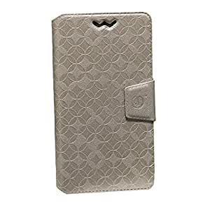 Jo Jo Cover Aarav Series Leather Pouch Flip Case With Silicon Holder For Videocon Infinium Z40 Quad Golden