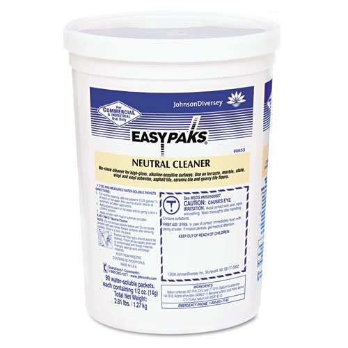 Easy Paks Products - Easy Paks - Neutral Cleaner, 5 oz. Packets, 90/Tub - Sold As 1 Each - Cleans and protects high-gloss finishes. - Leaves no dulling film, even without rinsing. - Pre-measured packet dissolves in water. - 90 packets per tub. - Ideal for cleaning surfaces ranging from terrazzo, marble, slate, vinyl and vinyl asbestos, asphalt, ceramic and quarry tile.