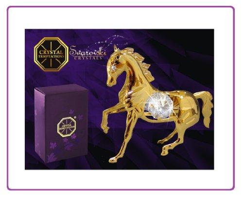 Swarovski Components - CRYSTAL TEMPTATIONS - cavallo in oro con chiari pietre - Horse - cristalli Swarovski - 24 oro-placcati - con trattamento anti ossidazione - Dimensioni: 6,5 x 2,5 x 6,5 cm - Il regalo ideale per nascita, battesimo, vieni Union, cresime, compleanno, nome tag, San Valentino, anniversario, Pasqua, Natale - per bambini, ragazza, moglie, Madre - come pensierino, ATTENZIONE, sorpresa, grazie, auguri - un regalo, sempre bene arrivo!