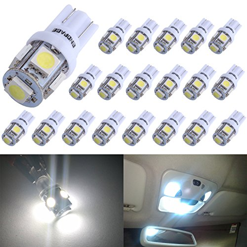 ENDPAGE 20x 194 168 2825 W5W T10 5-SMD White LED Light Bulbs Replacement for Interior Dome Map Dashboard Lights Trunk Lamp and Exterior License Plate Side Marker Parking Lights Fit RV Camper Van Truck (Rv Hot Water Plug compare prices)