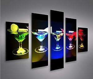 Funky cocktails mf 5 quadri moderni su tela pronti da appendere montata su pannelli in legno - Quadri da appendere in bagno ...