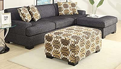 Bobkona Benford 2-Piece Chaise Sectional Sofa Collection with Faux Linen, Ash Black