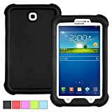 Samsung Galaxy Tab 3 7.0 Case - Poetic Samsung Galaxy Tab 3 7.0 Case [Turtle Skin Series] - [Corner/Bumper Protection] [Grip] [Sound-Amplification] Protective Silicone Case for Samsung Galaxy Tab 3 7.0 Tablet Black (3 Year Manufacturer Warranty From Poetic)