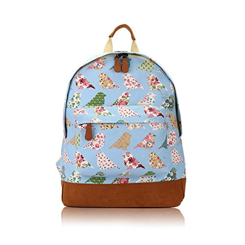"Vendita - Bambini Zaino Designer stile stampa su tela, JC collezione ""Back to School Flower Bird - Light Blue Medium"