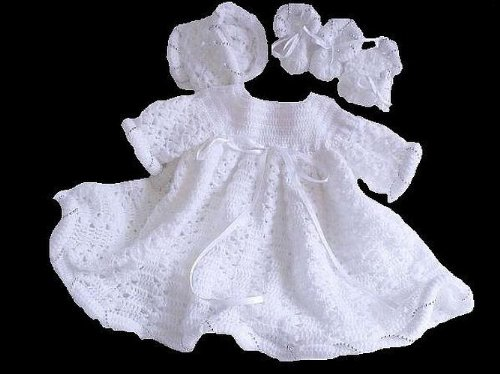 Silver Christening Set Baby Crochet Pattern 36 USA