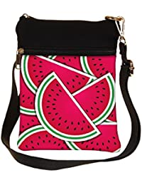 Snoogg Watermelon Wedge Background Card In Vector Format Cross Body Tote Bag / Shoulder Sling Carry Bag