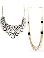 Jazz Jewellery Gold And Silver Plated Combo Necklace Set Girls And Women