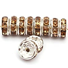 buy Gem-Inside 100 Pcs Light Yellow 8Mm Crystal Rondelle Spacer Bead Gold Silver Plated For Jewellry Making