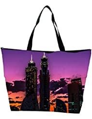Snoogg Abstract Building At Night Designer Waterproof Bag Made Of High Strength Nylon