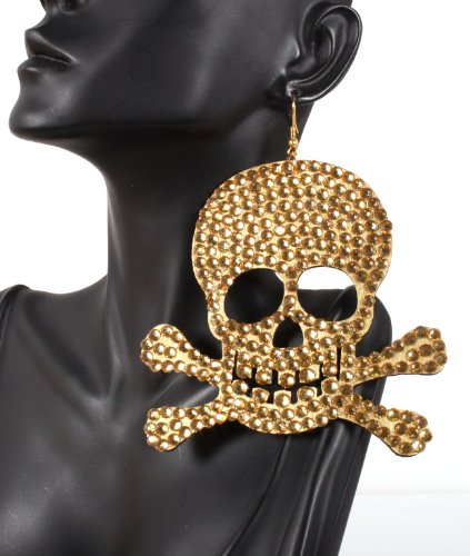 Iced Out Basketball Wives Gold Pirates Logo 4 Inch Drop Earrings Light Weight POParazzi
