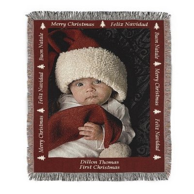 Personalized Christmas Photo Art Throw Blanket With Custom Embroidery And Red Border front-347026