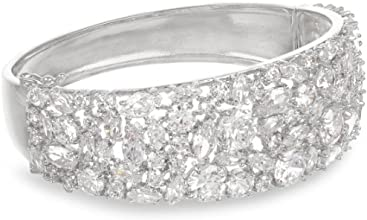 CZ by Kenneth Jay Lane Silver-Tone 30 Cttw Cubic Zirconia Bangle Bracelet