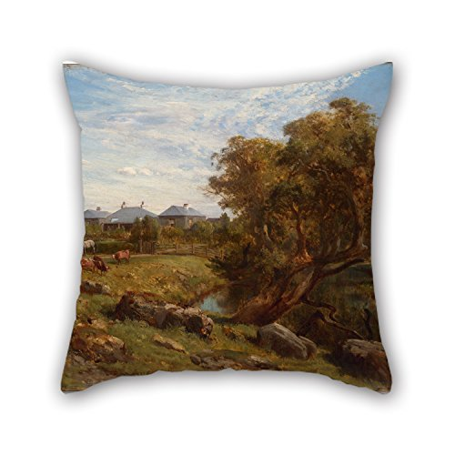 [Loveloveu The Oil Painting Louis Buvelot - Terrinallum House And Emu Creek From Near The Lower Garden Gate Pillow Cases Of ,16 X 16 Inches / 40 By 40 Cm Decoration,gift For Car] (Emu Costume Ideas)