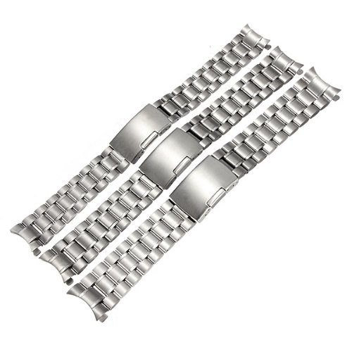 Silver Stainless Steel Watch Band Strap Curved End Solid Links 16mm 18mm 20mm
