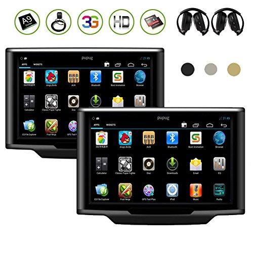 101-pouces-cran-tactile-capacitif-Paire-de-Lecteurs-Vido-appuie-tte-pour-voiture-Android-41-Wifi3G-Dual-Core-Processeur-Taie-doreiller-none-dvd-Audio-Radio-stro-Bluetooth-GPS-Navi-Siges-arrire-les-cra