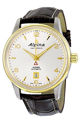 Alpina Alpiner Automatic Gold tone & Steel Mens Strap Watch Silver Dial Calendar AL 525S4E3