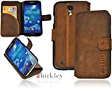 Burkley Book BOOK-G8-i9500 Flip Case with Stand and Credit Card Pocket for Samsung Galaxy S4 i9500 Premium Leather Stone Washed Rust Brown