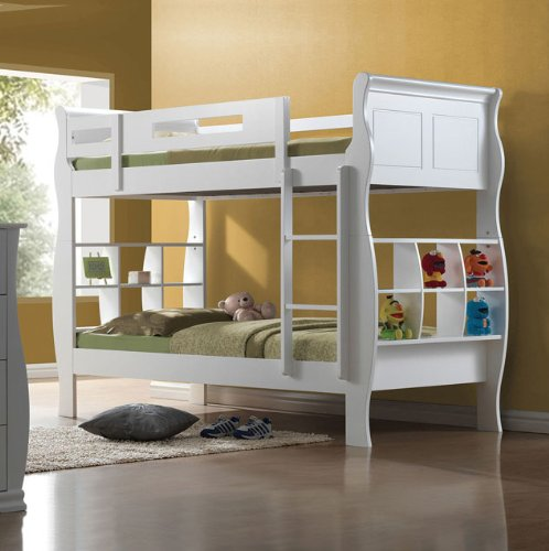 White Bunk Bed Twin Over Full 4755 front