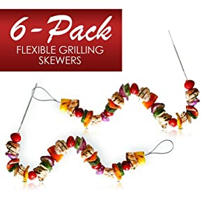 Fire Wire Stainless Steel Flexible Grilling Skewers (6-Pack) by Inno-Labs