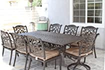 "Hot Sale Heritage Outdoor Living Flamingo Cast Aluminum 9pc Outdoor Patio Dining Set with 44""x84"" Rectangle Table - Antique Bronze"