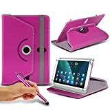 (Hot Pink) Huawei T1 Pro 8 [8 inch ] Case [Stand Cover] for Huawei T1 Pro 8 [8 inch ] Tablet PC Case Cover [Stand Cover] Durable Synthetic PU Leather 360 Roatating cover Case [Stand Cover] with 4 springs by i- Tronixs