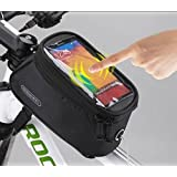 "Allnice® Waterproof 4.2"" 4.8"" 5.5"" Bike Bicycle Cycling Frame Pannier Front Tube Bag Saddle Bag Touchscreen Cell Phone Case Bag Phone Holder GPS Bag with Headphone Jack Reflective Strips for Safe Night Riding Suitable for iPhone Samsung HTC Nokia and other Smartphones"