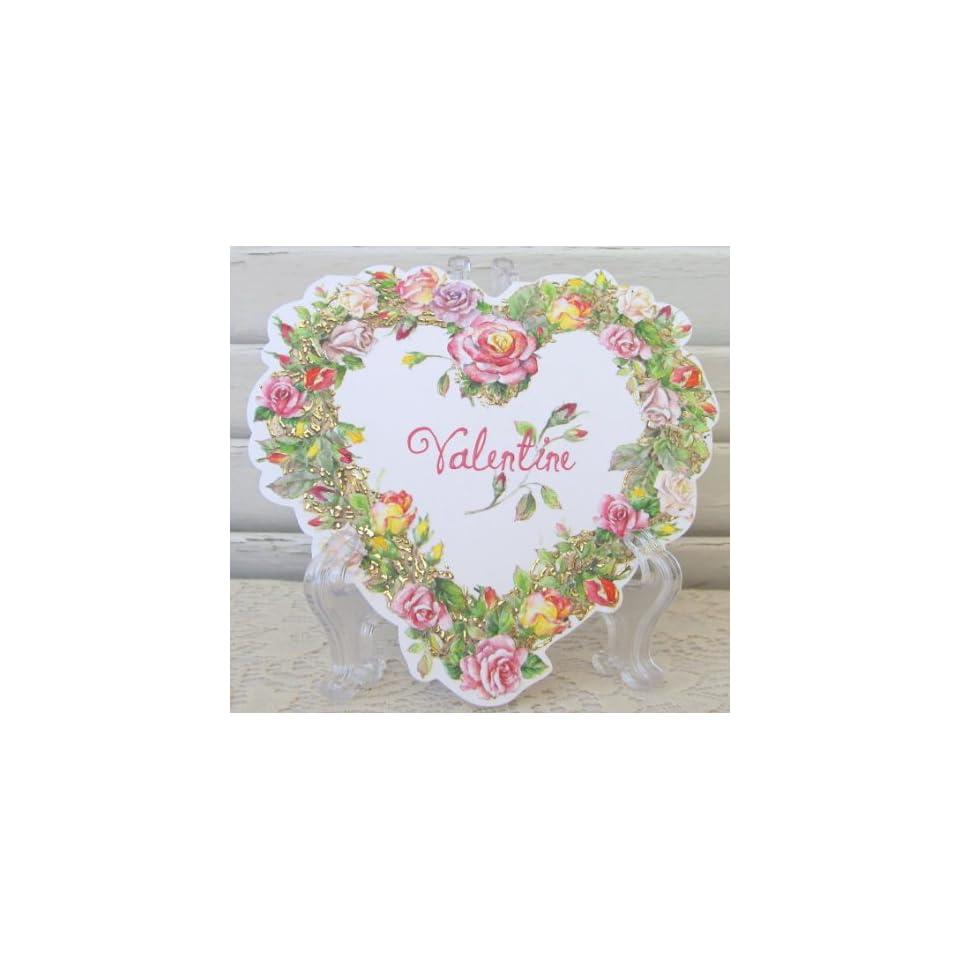 Carol Wilson Valentines Day Card, Rose Wreath Heart