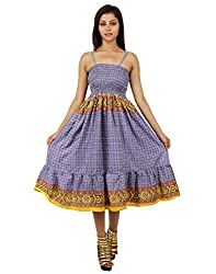 Traditional Polyester Geometric Dress Purple Printed For Ladies By Rajrang