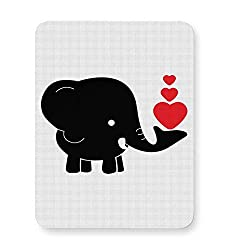 PosterGuy Black Elephant With Hearts Black Baby Elephant, Hearts, Love, Red Hearts, Cute, Elephant Illustration, Cartoon Vector, Elephant Cartoon With Hearts, Mouse Pad
