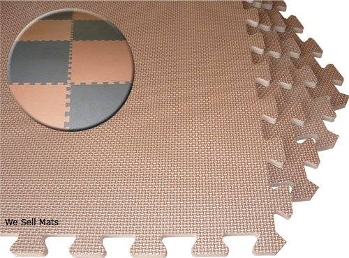 "BROWN / BLACK Checkerboard 96 SQFT We Sell Mats 2' x 2' x 3/8"" Anti-Fatigue Interlocking EVA Foam Exercise Gym Flooring"