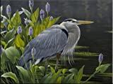 Biding Time Great Blue Heron by Wilhelm Goebel Tile Mural for Kitchen Backsplash Bathroom Wall Tile Mural
