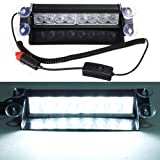 DIYAH 8 LED Warning Caution Car Van Truck Emergency Strobe Light Lamp For Interior Roof Dash Windshield (White)