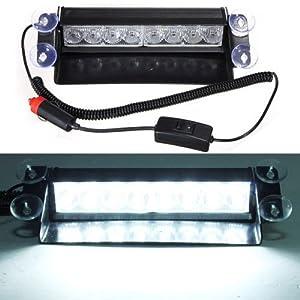 DIYAH 8 LED Warning Caution Car Van Truck Emergency Strobe Light Lamp For Interior Roof Dash Windshield (White)