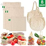 AivaToba 8 Pack Reusable Produce Bags-GOTS & FDA Certified, Eco Friendly Cotton Mesh Produce Bags, Premium Washable Grocery Bags with Tare Weight for Shopping Fruit Vegetable Toys Storage (Color: Original, Tamaño: Cotton mesh set of 8 -2L, 2M, 2S, 2H)