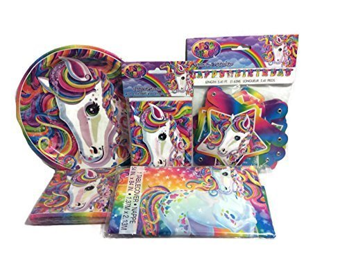 Majesty-Neon-Pony-Lisa-Frank-Party-Supply-Bundle-for-8-Includes-Plates-Napkins-Invitationstable-Cover-and-Birthday-Banner