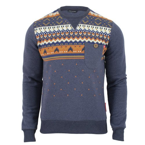 Criminal Damage Mens Aztec Printed Sweatshirt Navy/Marl Small