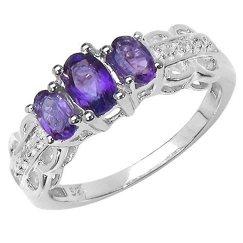 The Amethyst Ring Collection: Ladies Sterling Silver 3 Stone Amethyst Engagement Ring with White Topaz Set Shoulders (Size P)