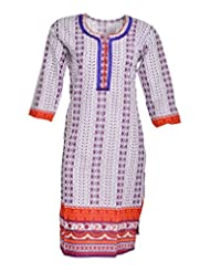 Global Women's Cotton Straight Kurta (GW62Whitep40015, Multi, 40)