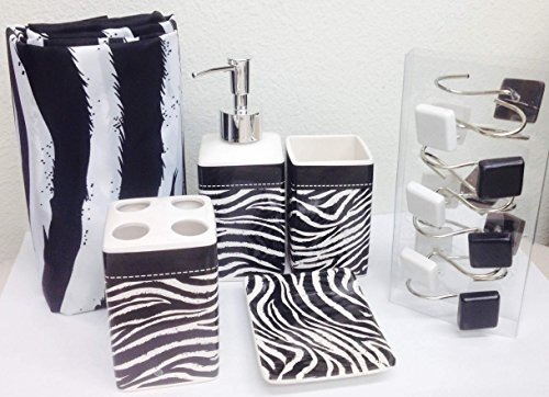 17 piece black white zebra bathroom accessories set soap for Zebra bathroom accessories